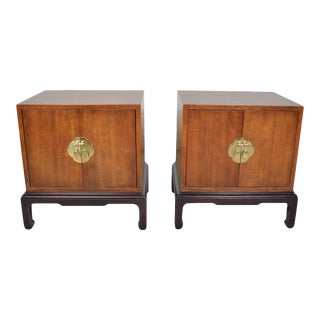 Michael Taylor Henredon Pan Asian Chinoiserie Nightstands Bedside Cabinets For Sale