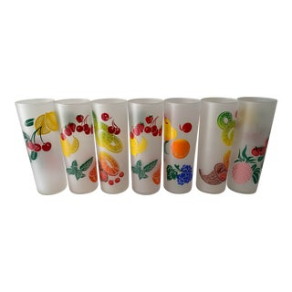 Vintage Mid Century Federal Glass Colorful Fruit Tumblers - Set of 7 For Sale