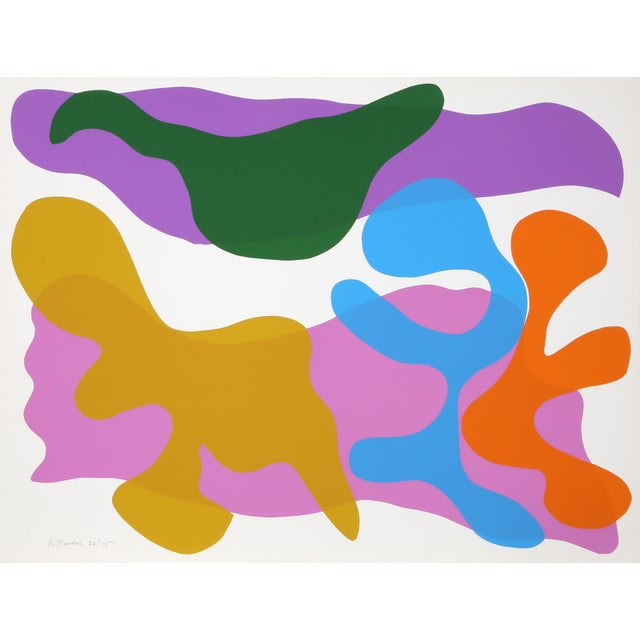 Abstract Large Colorful Silkscreen by Raymond Parker For Sale - Image 3 of 3