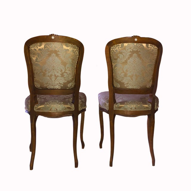 Tuscan 1950s Louis XV Style Champagne Gold Fabric Chairs - a Pair For Sale - Image 3 of 6