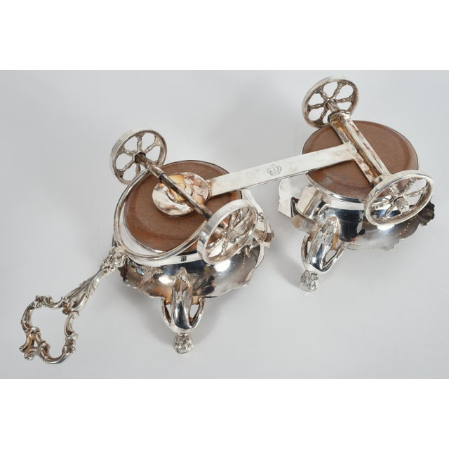 Silver Vintage English Silver Plate Wheeled Carriage Drinks / Decanter Holder For Sale - Image 8 of 10