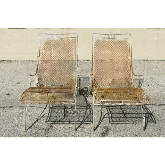 Russell Woodard Mid Century Modern Russell Woodard Wrought Iron Patio Chairs- A Pair For Sale - Image 4 of 13
