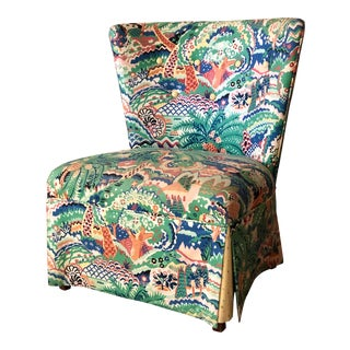Boho Chic Style Upholstered Vanity Chair For Sale