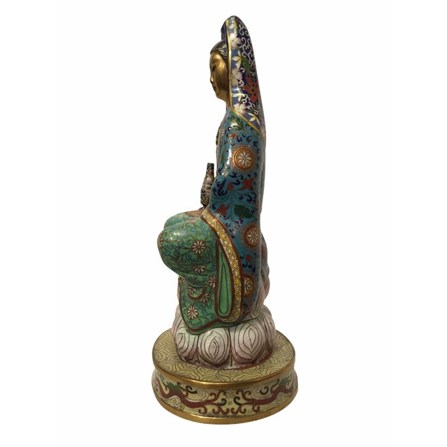 Chinese Vintage 1940s Cloisonné Kwan-Yin GuanYin Statue / Figurine For Sale - Image 3 of 13