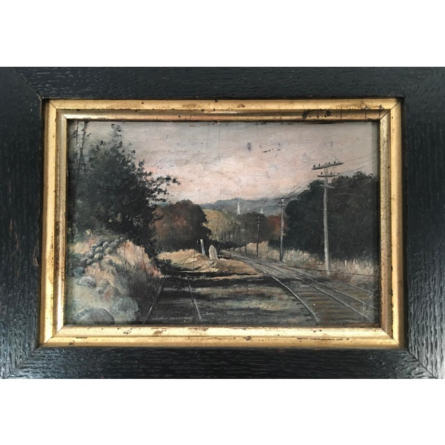 Wood 19th Century Small Landscape Painting with Railroad Tracks and Telegraph Poles For Sale - Image 7 of 10