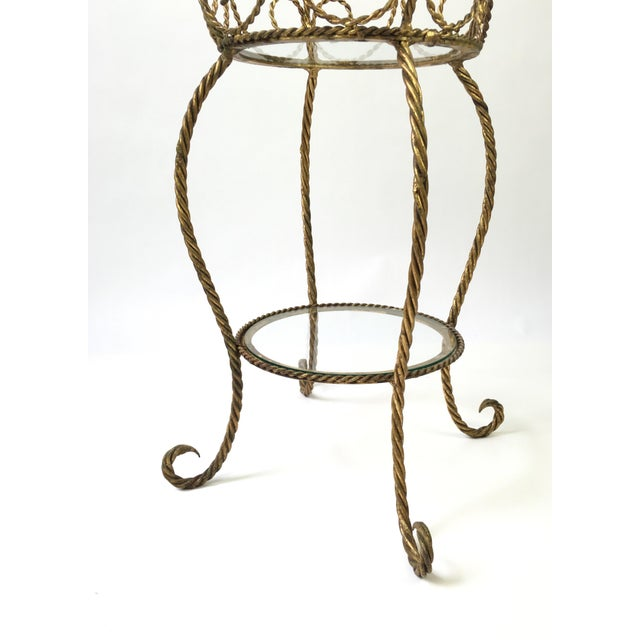 1970s Hollywood Regency Gilt Metal Rope 2 Tier Plant Stand For Sale - Image 5 of 7