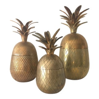 Hollywood Regency Pineapple Lidded Containers - Set of 3 For Sale