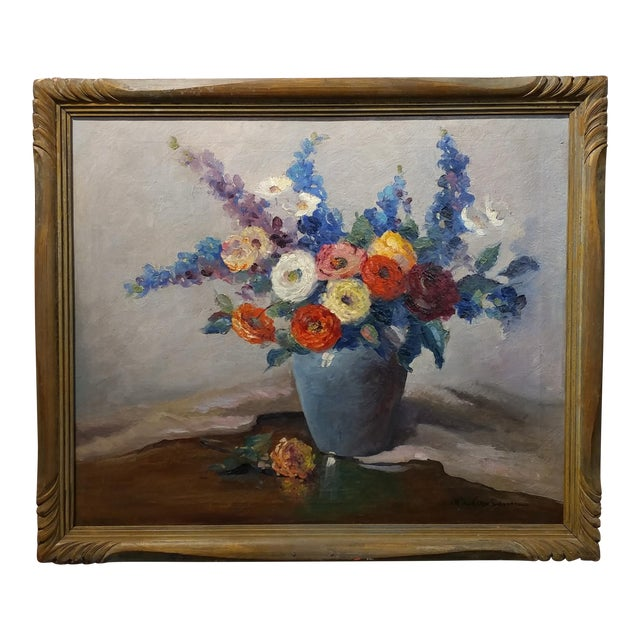 Nell Walker Warner- Large Floral Still Life -Beautiful Oil painting -Impressionist c1920s For Sale