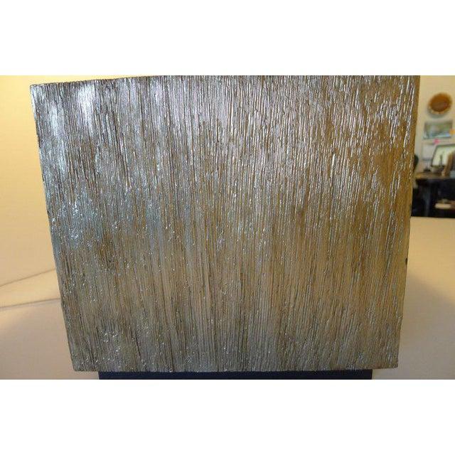 Wood Paul Marra Modern Distressed Silvered Oak Lamp For Sale - Image 7 of 9