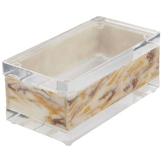 Mid-Century Modern Lucite Decorative Box Crystal Clear and Faux Marble For Sale