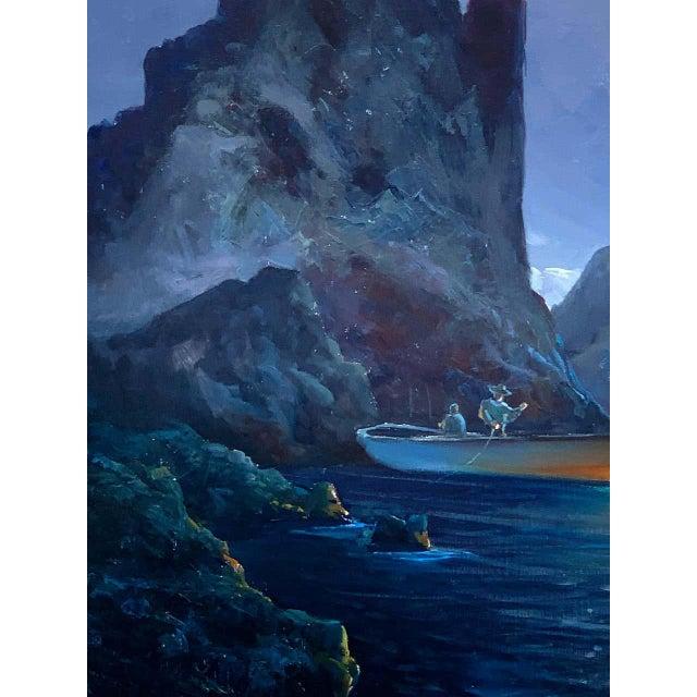 Blue Evening Capri Seascape by Salvatore Federico, Italian, 20th Century For Sale - Image 8 of 11