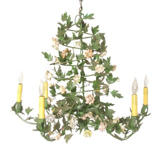 Louis XV Style Tole & Porcelain Flower Chandelier For Sale