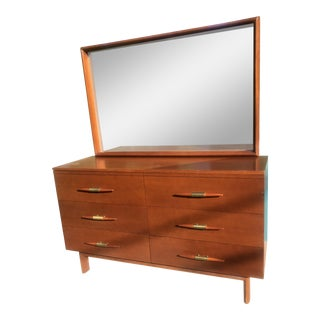1950s Mid-Century Modern Brown Saltman Mahogany 6-Drawer Dresser and Mirror - Set of 2