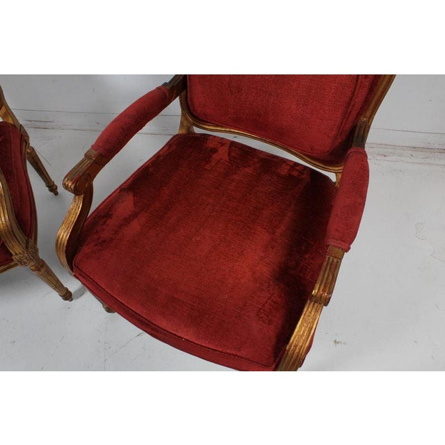 Red Hollywood Regency Red Velvet Bergere Armchairs Dining Chairs - Set of 4 For Sale - Image 8 of 13