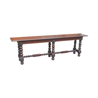 "Jacobean Revival 100"" Long Antique Mahogany Turned Leg Console Table"