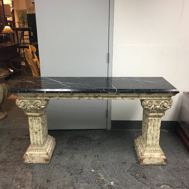 Console Table with Black Marble Top & Column Base - Image 2 of 8
