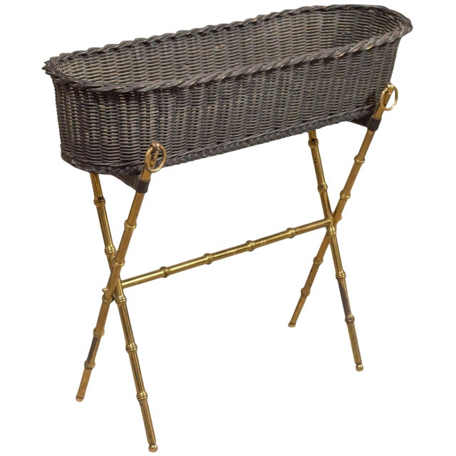 Jacques Adnet Wicker Planter With Gilt Brass Bamboo Base For Sale