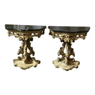 Italian Grotto Styled Consoles - a Pair For Sale