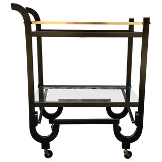 Curvaceous Art Deco Brass and Glass Serving Cart For Sale
