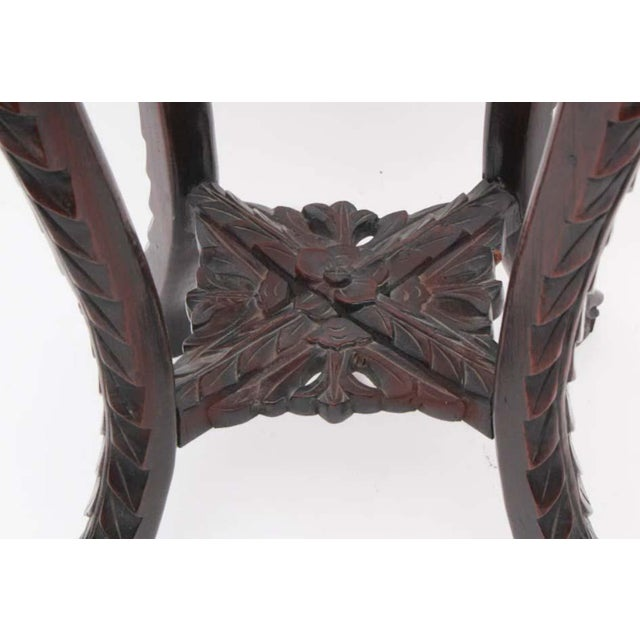 Antique Chinese Carved Rosewood Marble Top Stand For Sale - Image 5 of 7