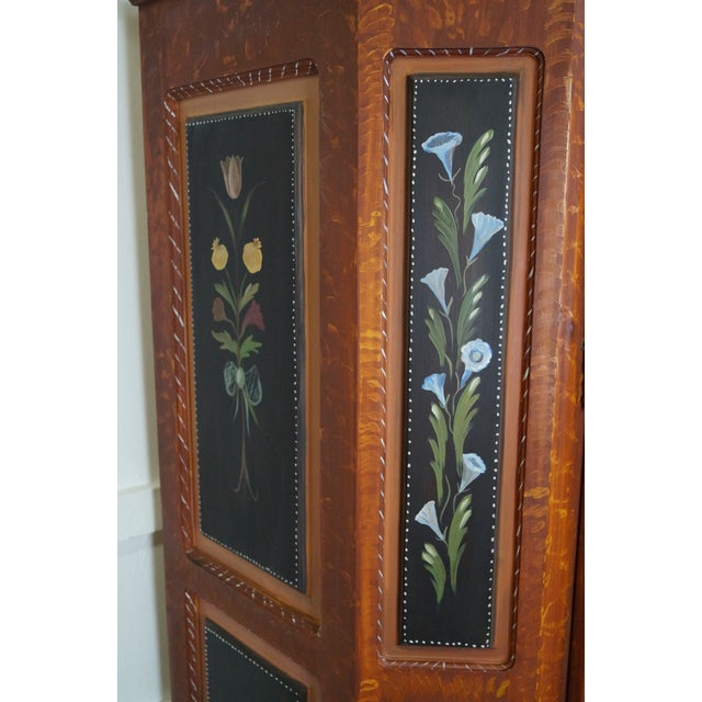 French Style Hand Painted Armoire Cabinet - Image 9 of 10