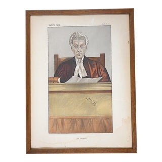 "Antique Vanity Fair Lithograph by Spy-Red Robed Judge-""The Umpire"""