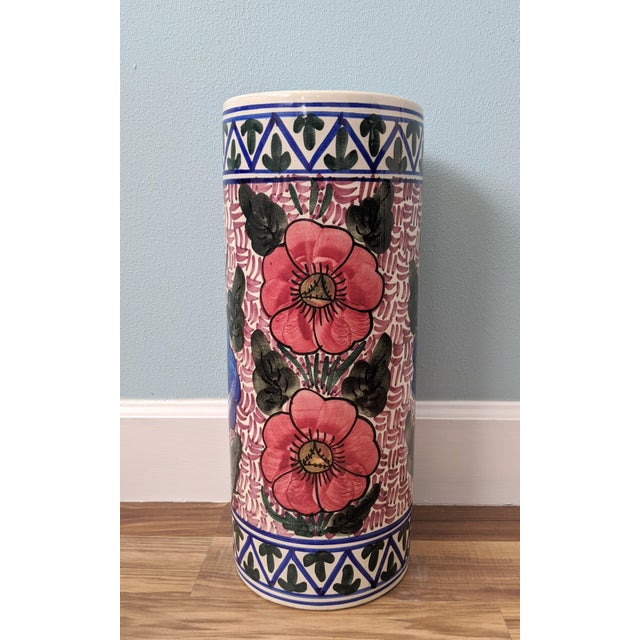 Spanish 20th Century Floral Blue and Pink Ceramic Umbrella Stand For Sale - Image 3 of 11