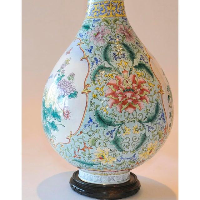Vintage Chinese Enamel Vase, Flora & Fauna Details For Sale - Image 4 of 11