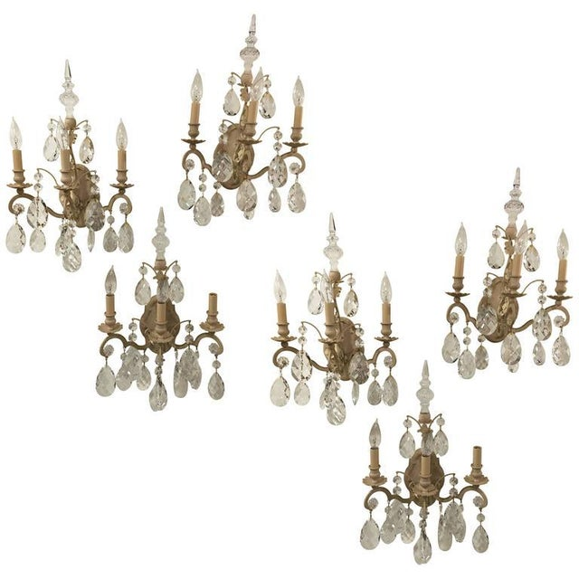 Schonbek Renaissance Style Three Light Wall Sconces- Set of Six For Sale