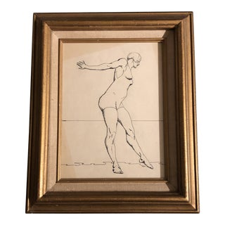 Original Vintage Art Deco Ink Drawing Woman in Swimsuit Framed 1920's For Sale