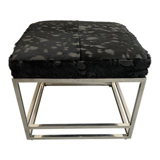 Black Pony Leather and Chrome Ottoman For Sale