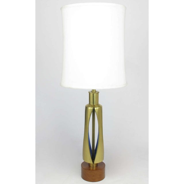 Mid-Century Modern Rembrandt Brass & Azure Blue Table Lamp For Sale - Image 3 of 8