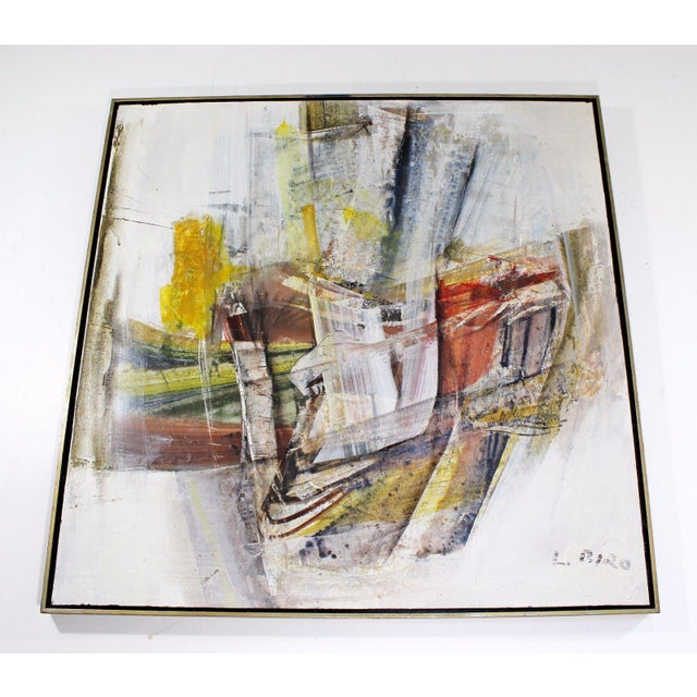 Mid 20th Century Mid Century Modern Framed Mixed Media Acrylic Abstract Painting by Ljubo Biro For Sale - Image 5 of 11