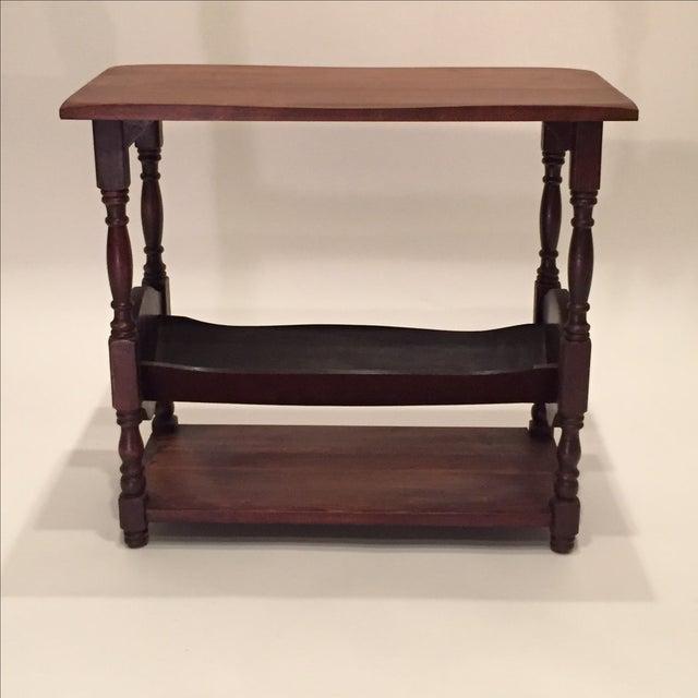 Vintage Walnut Bookshelf Side Table - Image 3 of 8