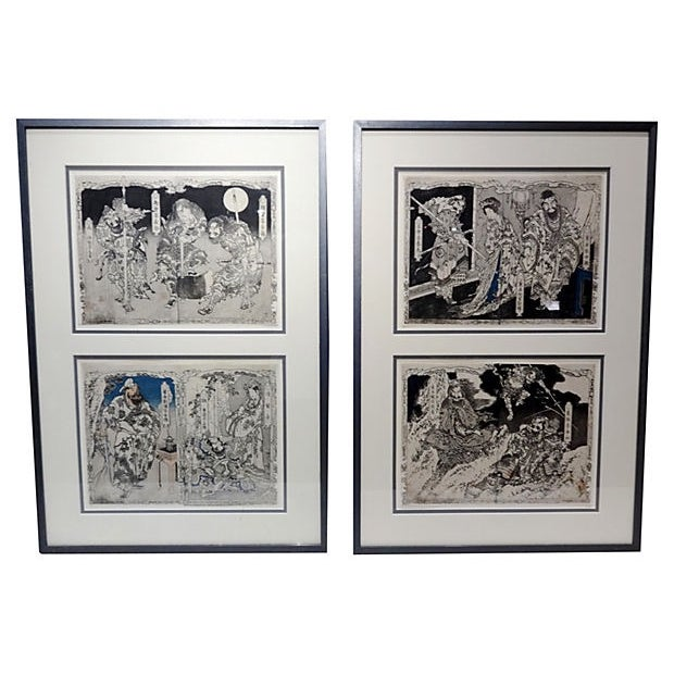 A superb pair of 19th Century Japanese woodblocks on paper. The narrative scenes are of father and daughter samurais...
