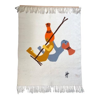 1960s Vintage Mid Century Modern Woven Wool Wall Hanging Tapestry Signed Danish