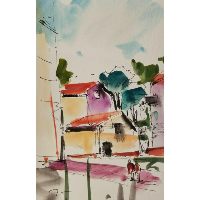 "Jose Trujillo Original Watercolor Painting, Houses Village Town Contemporary - 6x9"" For Sale"