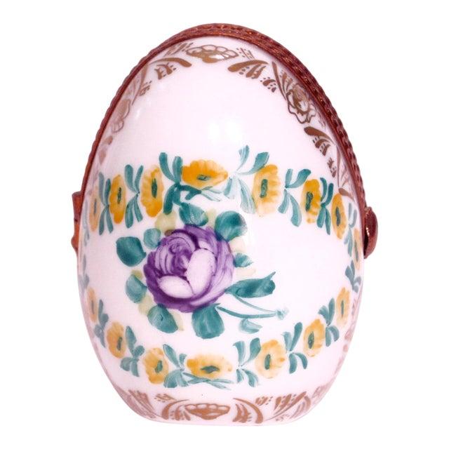 Limoges France Hand Painted Egg Locket Box For Sale