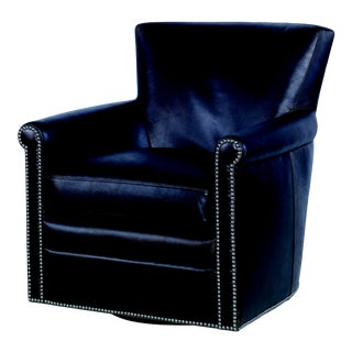 Century Furniture Cardinal Swivel Chair, Chiana Leather For Sale