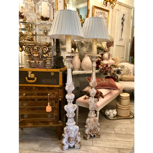 Very fine and rare Pair of 18th Century Hand Carved & Painted Gilt Wood Floor Lamps, Italy C. 1750-1800. Hand Carved Wood...
