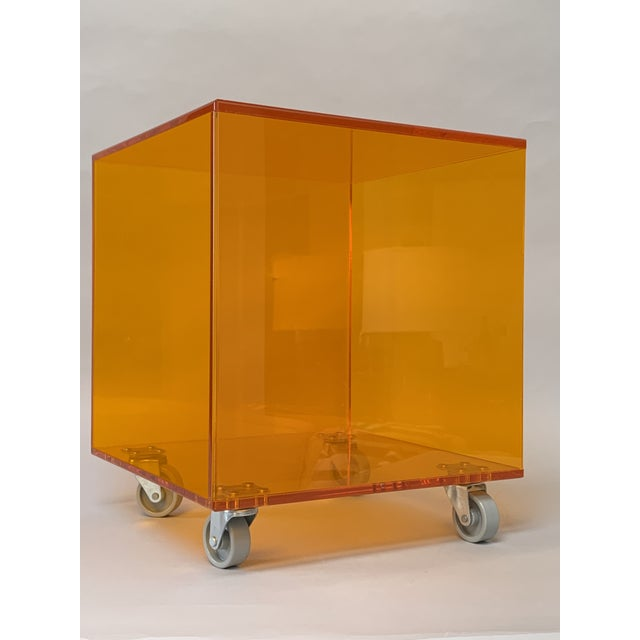 1990s 1990s Modern Translucent Orange Lucite Rolling Storage Cube/Side Table on Wheels For Sale - Image 5 of 11