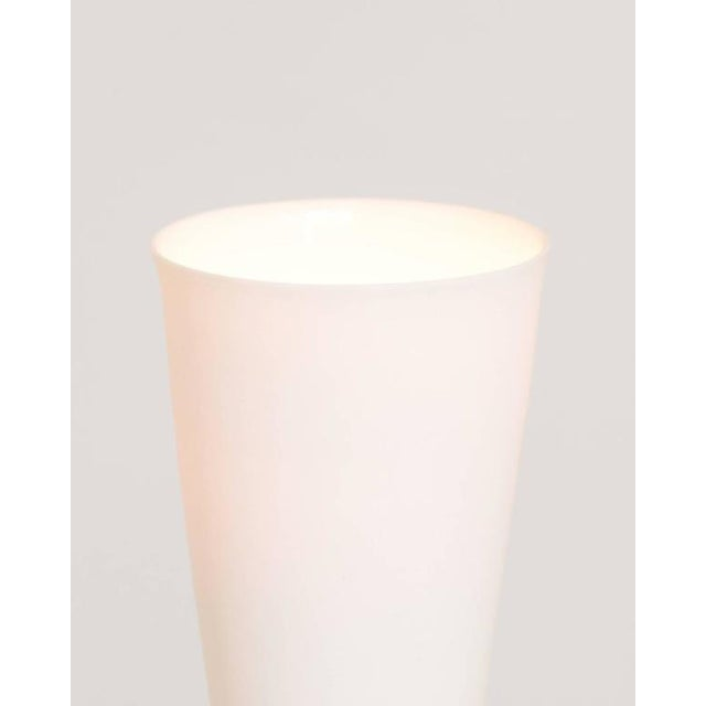 Contemporary Grace White Porcelain Shade and Suspended Glass Sphere Brass Sconce For Sale In Portland, OR - Image 6 of 9