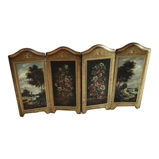 Vintage Italian Florentine Wooden Mini Screen For Sale