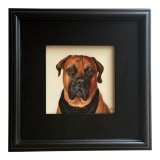 Contemporary Boxer Dog Oil Portrait Painting For Sale