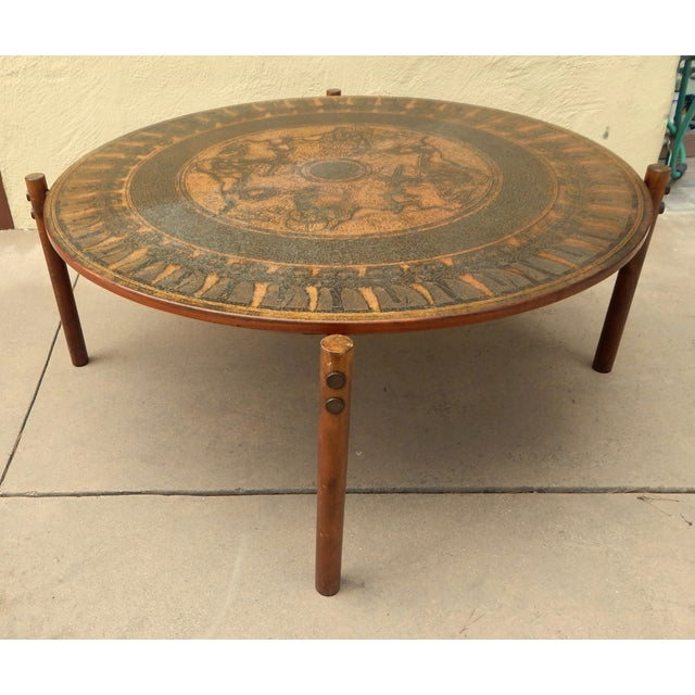 Egyptian Theme Stamped Copper Coffee Table Ca 1970 - Image 4 of 7