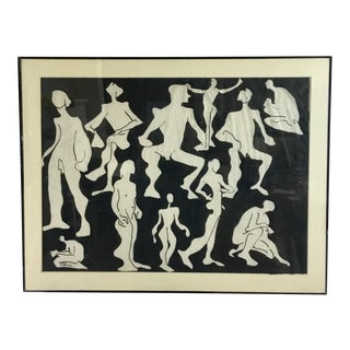 1980s Ink on Paper Titled Nude Men by Marian Halo Dwyer For Sale
