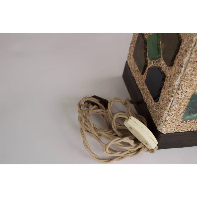 Tan French 1950s Cement and Colored Glass Table Lamps For Sale - Image 8 of 11