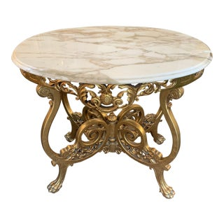 Rococo Carved Gilt Wood and Marble Console Table For Sale