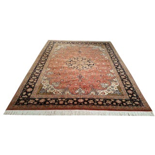 Vintage Persian Tabriz Handmade Knotted Rug - 6′9″ × 9′7″ - Size Cat. 6x9 7x10 For Sale