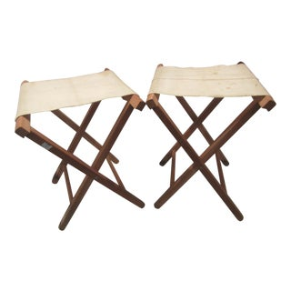 Mid Century Folding Canvas Stools - a Pair For Sale